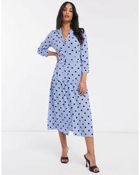Warehouse Polka Dot Tiered Shirt Dress - Blue