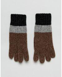 Vincent Pradier Cable Knit Colourblock Gloves - Multicolour