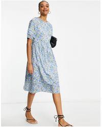 Y.A.S Midi Smock Dress - Blue