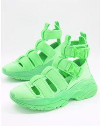 ASOS Sandales style baskets à semelle chunky - fluo - Vert