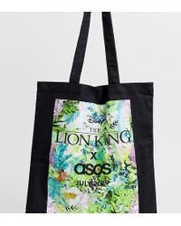 cba433e9c ASOS Organic Cotton Tote Bag In Black With Neon Leopard Box Print in Black  for Men - Lyst
