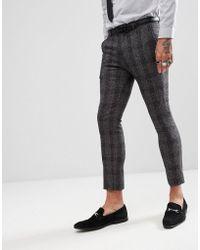 Rudie Pantalon de costume coupe skinny courte motif mouchet et carreaux - Gris