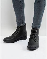 Brave Soul Milled Lace Up Boots - Black