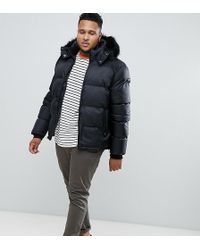 Schott Nyc Puffer Jacket With Detachable Hood & Faux Fur Trim In Black