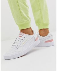 new styles c0558 6813b Ralph Sampson Trainers In White With Pink