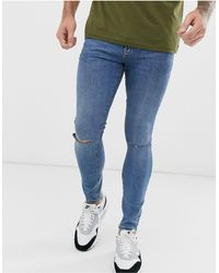 Pull&Bear Super Skinny Jeans With Knee Rips - Blue