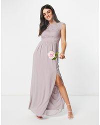 TFNC London Bridesmaid Lace Open Back Maxi Dress - Grey