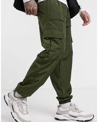 Pull&Bear Узкие Нейлоновые Джоггеры Хаки -зеленый