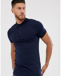ASOS Muscle Fit Longline Polo - Blue