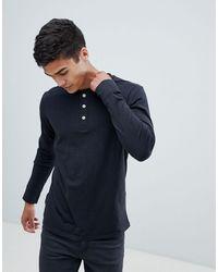 SELECTED Overdye Long Sleeve Henley T-shirt - Black