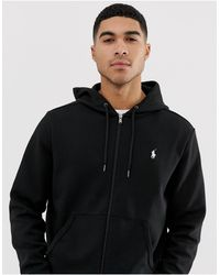 Polo Ralph Lauren Felpa nera con zip lunga, cappuccio e logo a giocatore - Nero