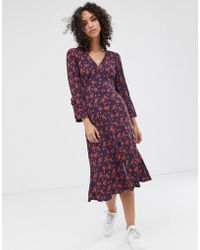 Finery London Romy Floral Print Tea Dress - Blue