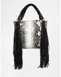 Urban Originals - Snake Print Fringed Shopper Bag - Black Snake - Lyst