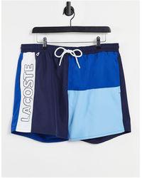 Lacoste Pantaloncini da bagno colorblock ad asciugatura rapida - Blu
