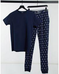 Lyle & Scott Ensemble confort pantalon et t-shirt à logo - Bleu