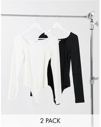 Glamorous 2 Pack Long Sleeve Scoop Neck Body Black And White - Multicolor