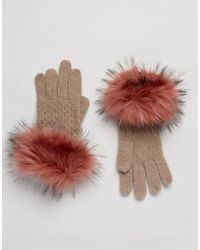 Alice Hannah - Knitted Gloves With Faux Fur Cuff - Lyst