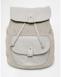 ASOS - Leather And Suede Embossed Croc Pocket Backpack - Lyst