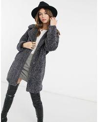 New Look - Темно-серое Удлиненное Плюшевое Пальто Из Искусственного Меха -серый - Lyst