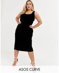 ASOS Asos Design Curve Velvet Scoop Neck Midi Slip Dress - Black