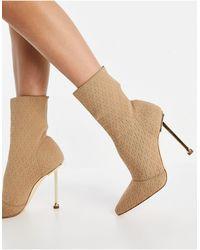SIMMI Shoes Simmi London - Shae - Bottines souples à talon doré - Beige - Neutre