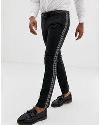 Twisted Tailor Pantalones superajustados con raya lateral - Negro