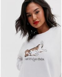Daisy Street 'i Need 100% Of Your Attention' Oversized Sweater With Dog Graphic In White