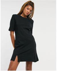 Monki Черное Платье-футболка Мини С Разрезами Из Органического Хлопка Andrea-черный