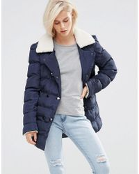 Girls On Film Padded Coat With Faux Shearling - Blue