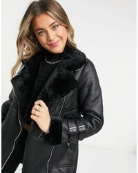 New Look Longline Aviator Jacket - Black