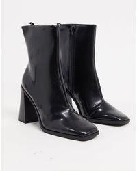 Monki Черные Ботинки Из Искусственной Кожи На Каблуке -черный