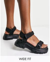 ASOS Wide Fit Fly By Chunky Sporty Sandals - Black