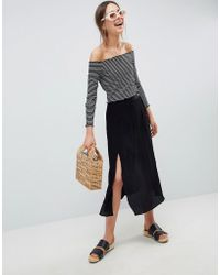ASOS - Crinkle Midi Skirt With Buttons And Double Split - Lyst