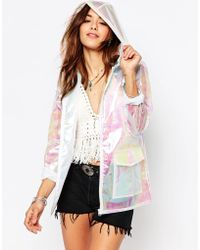 Missguided Holographic Raincoat - White