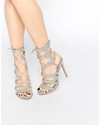 Missguided Laser Cut Lace Up Heeled Gladiators - Gray