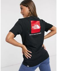 The North Face T-shirt nera con riquadro rosso - Nero