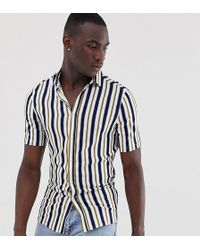 ASOS - Gestreept Skinny-fit Overhemd In Wit - Lyst