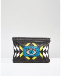 Cleobella - Coventry Beaded Eye Leather Clutch Bag - Black - Lyst
