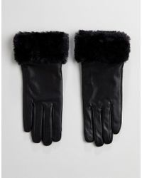 French Connection - Fur Trim Gloves In Leather - Lyst