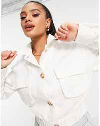 Missguided Utility Shacket Wth Pockets - White