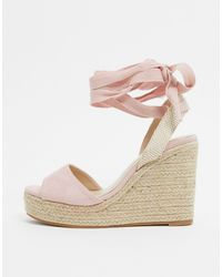 Glamorous Espadrille Wedge Sandal With Ankle Tie - Pink
