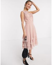 Chi Chi London Chi Chi Nour Tiered Onr Shoulder Midi Dress With Lace Embroidery - Metallic