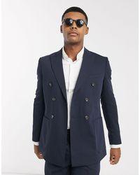 Jack & Jones Темно-синий Двубортный Пиджак Premium