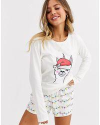ASOS Pigiama natalizio pantaloncini e T-shirt con lama con unicorno - Neutro