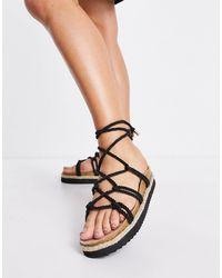 South Beach Espadrille Rope Sandals - Black