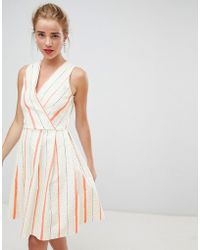 Closet - Wrap Front Skater Dress In Contrast Stripe - Lyst