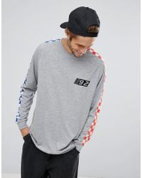 ASOS - Oversized Long Sleeve T-shirt With Checkerboard Print And Chest Embroidery - Lyst