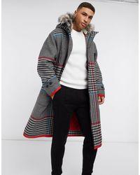 Tommy Hilfiger Удлиненное Пальто С Капюшоном Collections-серый - Красный
