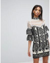 Elliatt - Embroidered Frill Dress - Lyst