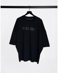 ASOS Черная Oversized-футболка С Принтом В Виде Названия Города - Черный